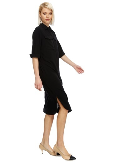 House Of Camellia Truvakar Kol Gömlek Elbise Siyah